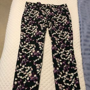 Banana Republic green flowered ankle pants size 8